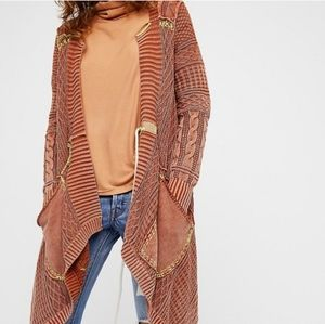 NEW Free People Rust All Washed Out Cardigan Sz L